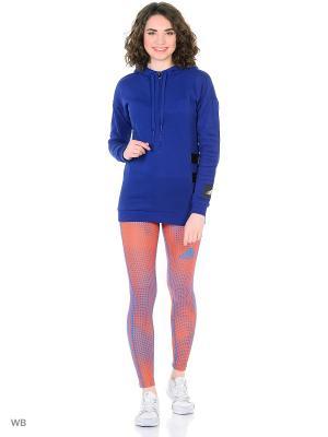 Тайтсы с принтом TIGHT W LIGHT Adidas. Цвет: голубой, оранжевый
