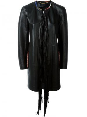 Пальто с бахромой Bazar Deluxe. Цвет: чёрный