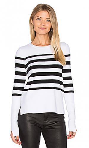 Полосатый свитер с асимметричным подолом Autumn Cashmere. Цвет: black & white