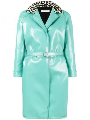 Пальто с воротником и принтом Philosophy Di Lorenzo Serafini. Цвет: синий
