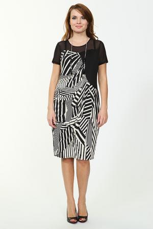 Платье с бусами Verda. Цвет: черный, белый