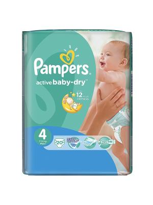 Подгузники Active Baby-Dry 8-14 кг, 4 размер, 20 шт. Pampers. Цвет: зеленый