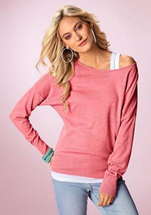 Длинный пуловер «летучая мышь», Flashlights FLG. Цвет: лососевый