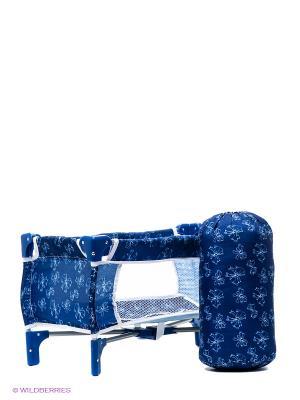 Кроватка-манеж для кукол Красотка 1Toy. Цвет: синий