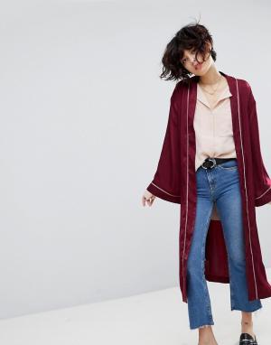 J.O.A Атласный пиджак-кимоно. Цвет: красный