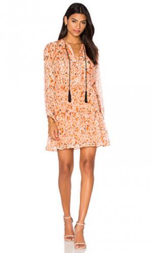 Платье с длинным рукавом и кисточками The Kooples. Цвет: оранжевый