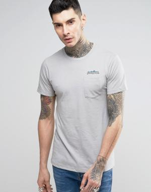 Patagonia T-Shirt With Chest Logo and Pocket In Slim Fit Grey. Цвет: серый