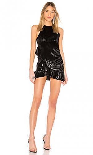 Металлизированное мини dress NBD. Цвет: черный