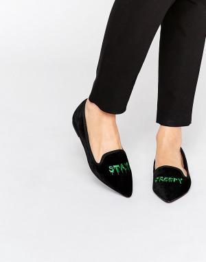 ASOS Слиперы с острым носком LETHAL Halloween. Цвет: черный