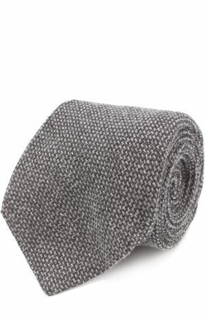 Галстук из смеси кашемира и шерсти с шелком Kiton. Цвет: светло-серый
