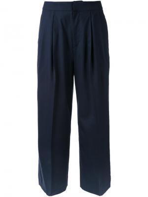 Укороченные широкие брюки Cityshop. Цвет: синий
