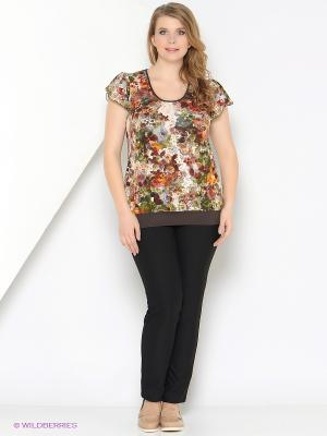 Блузка СТиКО. Цвет: бежевый, красный, зеленый, коричневый