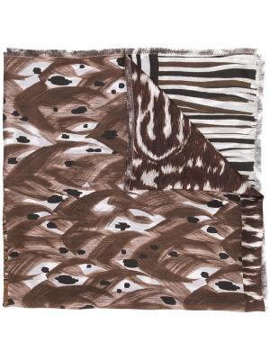 Шарф в стиле пэчворк Pierre-Louis Mascia. Цвет: коричневый