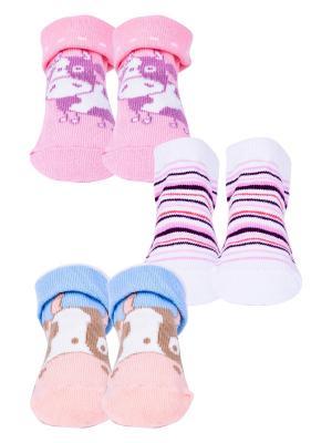 Носки, 3 пары Malerba. Цвет: голубой, белый, розовый