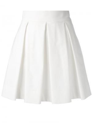 Плиссированная мини юбка Boutique Moschino. Цвет: белый