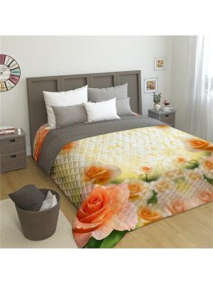 Покрывало Оранжевая роза Евро 200*220 Микрофибра Сирень. Цвет: бирюзовый, светло-зеленый