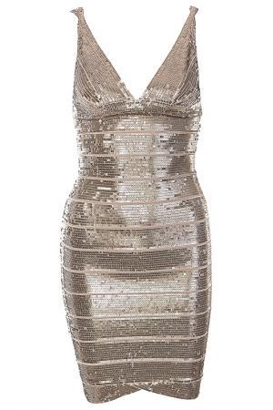 Платье Herve Leger. Цвет: бронзовый