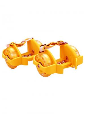 Ролики с прозрачными полиуретановыми колёсами 3-мя светодиодными огоньками JJA. Цвет: оранжевый