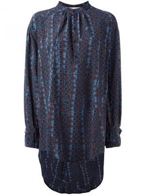 Удлиненная блузка с геометрическим принтом A.F.Vandevorst. Цвет: синий