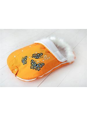 Конверт для прогулки и выписки из роддома Бабочки Sling Me. Цвет: оранжевый, белый