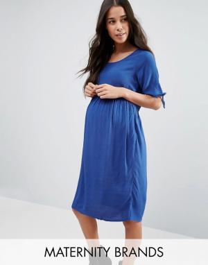 Mama.licious Платье для беременных с завязками на рукавах Mamalicious. Цвет: синий