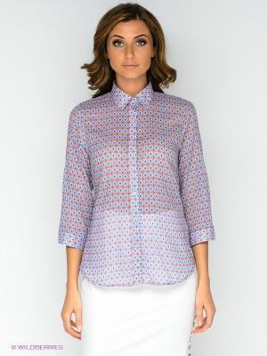 Блузка MILANO ITALY. Цвет: синий, коралловый, белый