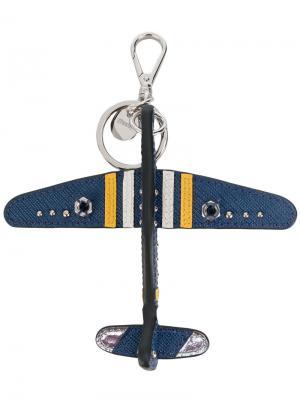 Брелок в виде самолета Prada. Цвет: синий