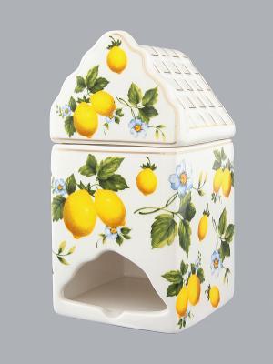 Банка для чайных пакетиков Лимоны Elan Gallery. Цвет: белый, желтый
