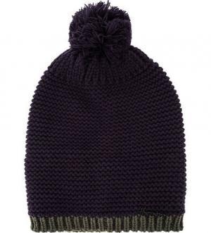 Фиолетовая шапка с помпоном HERMAN. Цвет: фиолетовый