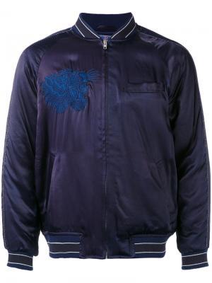 Куртка-бомбер с вышивкой Blue Japan. Цвет: синий