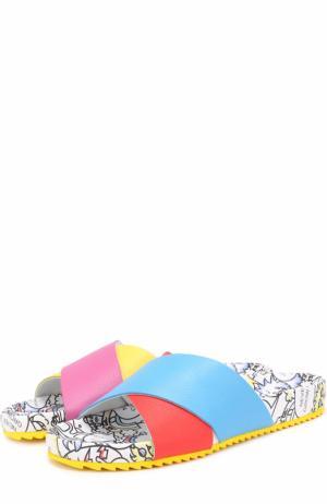 Кожаные шлепанцы на подошве с принтом Mira Mikati. Цвет: разноцветный