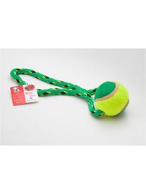 Игрушка канатная с теннисным мячом, 18 см Doggy Style. Цвет: зеленый