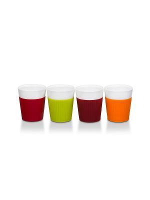 Набор из 4-х керамических стаканов с отделкой силиконом OURSSON. Цвет: светло-оранжевый