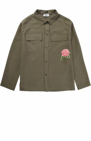 Блуза с накладными карманами и нашивкой Monnalisa. Цвет: хаки