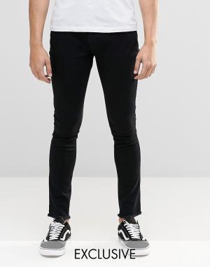 Brooklyn Supply Co. Черные суперзауженные джинсы с необработанным краем Co. Цвет: черный