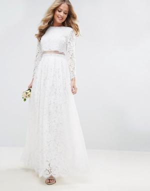ASOS Кружевное платье макси с кроп-топом и длинными рукавами BRIDAL. Цвет: белый