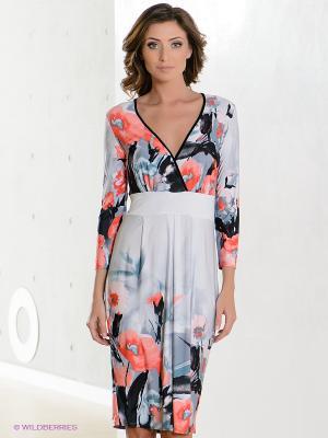 Платье Hammond. Цвет: светло-серый, коралловый