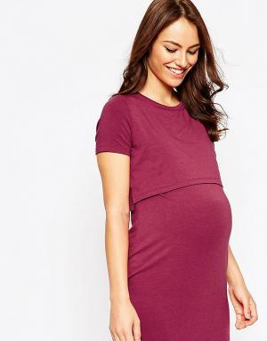 ASOS Maternity Двухслойное облегающее платье для беременных. Цвет: красный