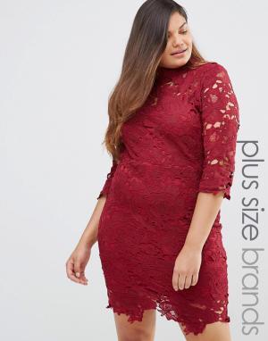 Club L Цельнокройное платье мини из кружева кроше Plus. Цвет: красный