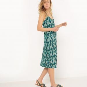 Платье длинное из крепа с принтом листья La Redoute Collections. Цвет: рисунок/зеленый