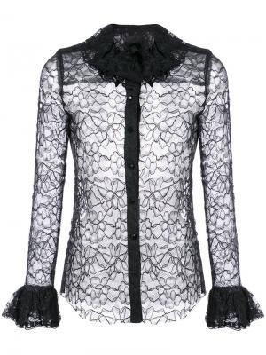 Кружевная рубашка с оборками Anna Sui. Цвет: чёрный