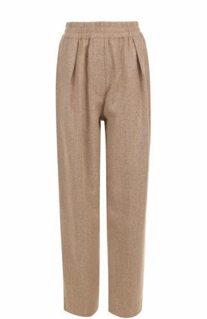 Широкие шерстяные брюки с эластичным поясом Acne Studios. Цвет: бежевый