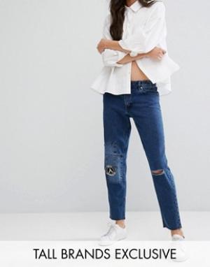 Waven Tall Рваные джинсы бойфренда с заплатками. Цвет: синий