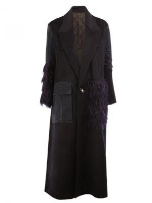 Textured detail single breasted coat Undercover. Цвет: синий