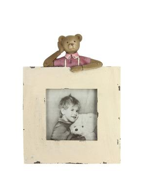 Фоторамка с мишкой RICH LINE Home Decor. Цвет: бежевый, коричневый