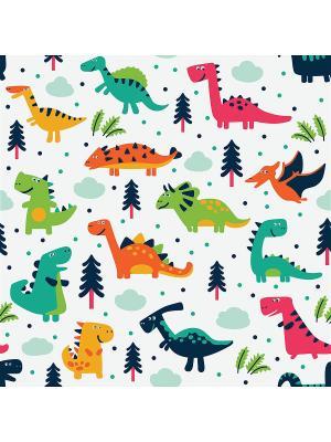 Готовая наволочка Динозаврики Матренин Посад. Цвет: зеленый, красный, оранжевый