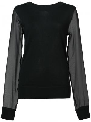 Fitted top with sheer sleeves Sally Lapointe. Цвет: чёрный