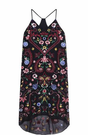 Платье асимметричного кроя с цветочной вышивкой Alice + Olivia. Цвет: черный