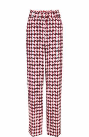 Буклированные расклешенные брюки с поясом Oscar de la Renta. Цвет: розовый