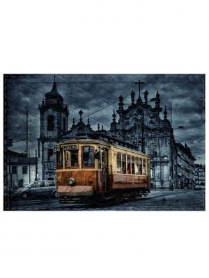Обложка для проездного Трамвай Tina Bolotina. Цвет: темно-синий, темно-коричневый